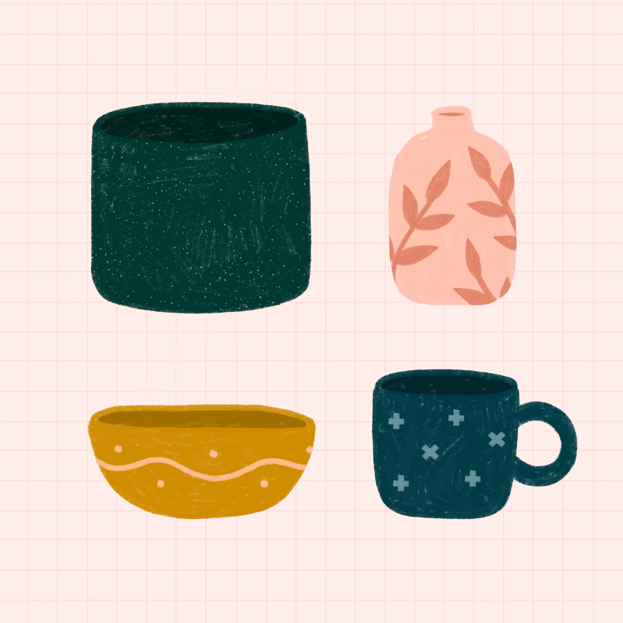 An illustration of several ceramic objects