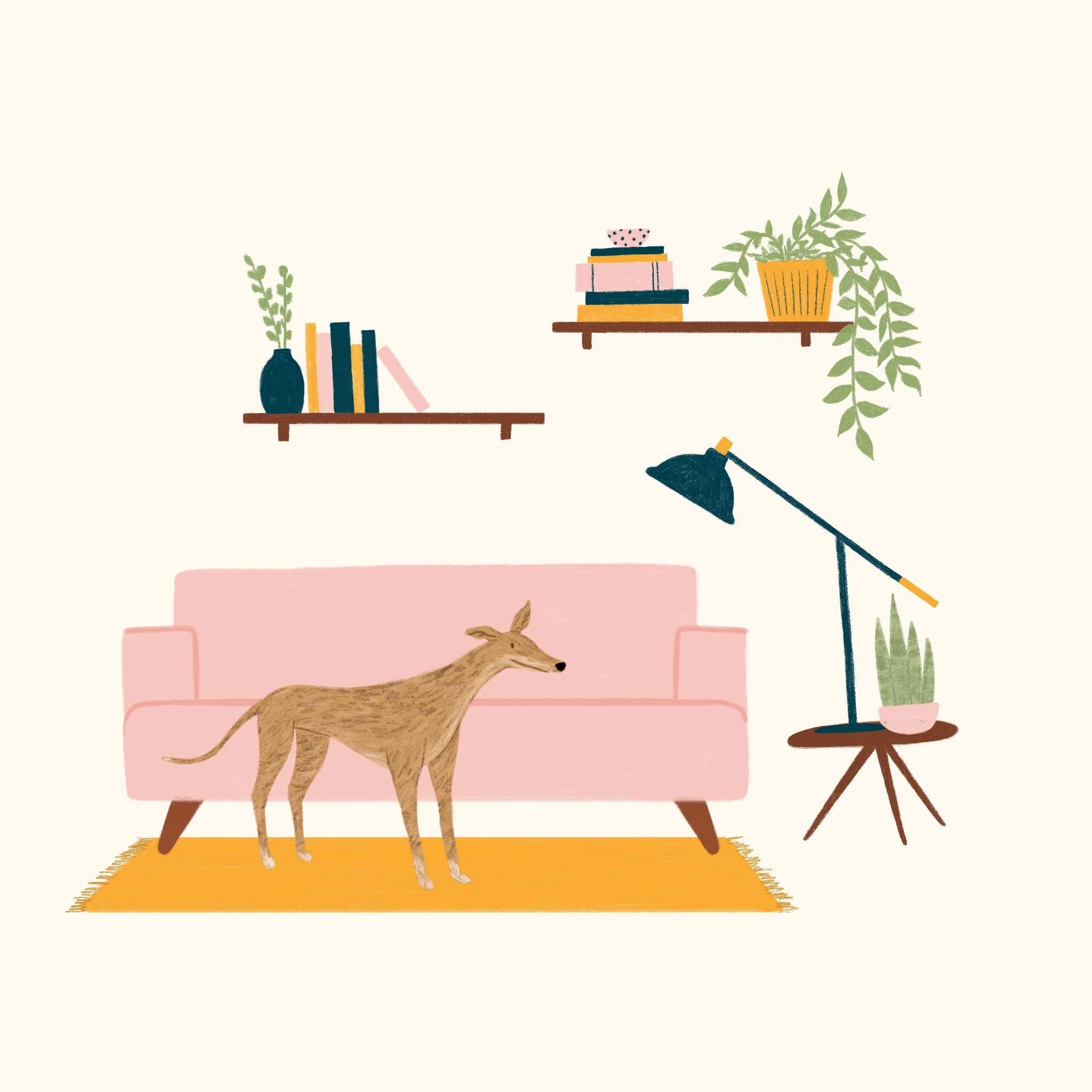 Illustration of a greyhound in a living room