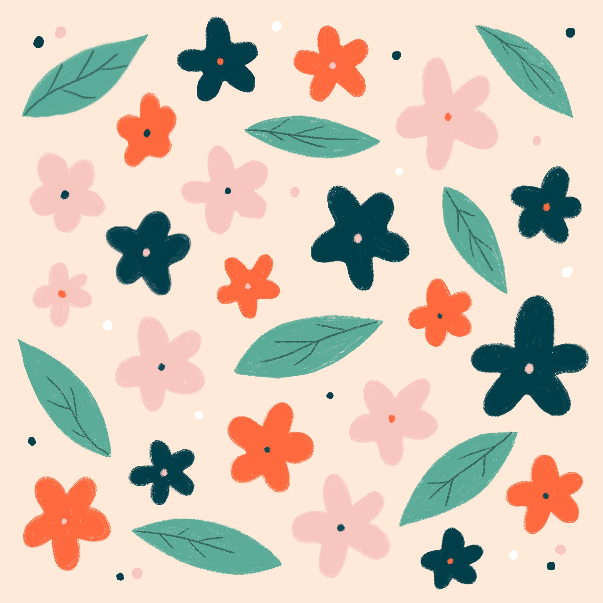 An illustrated pattern of flowers and leaves