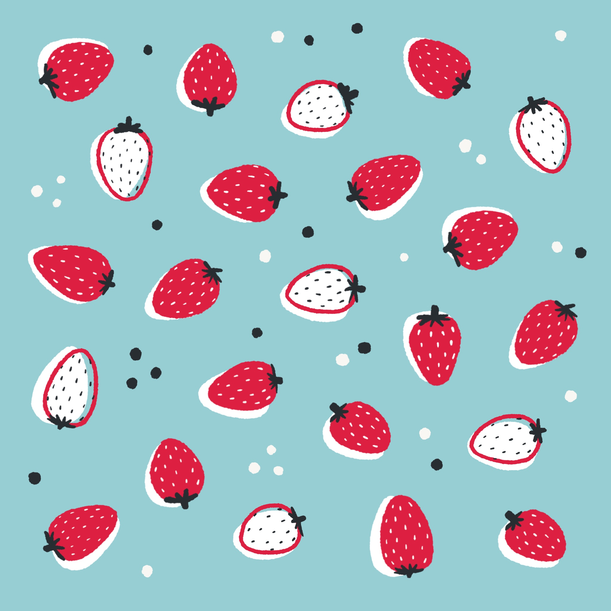 An illustrated pattern of strawberries