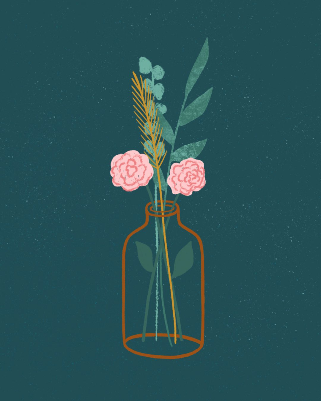 Illustration of a vase with some foliage and flowers inside